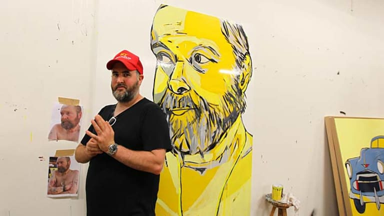 ''He was a thoughtful and intelligent man'' … Jasper Knight with his painting of fellow artist, the late Adam Cullen, submitted for the Archibald Prize.