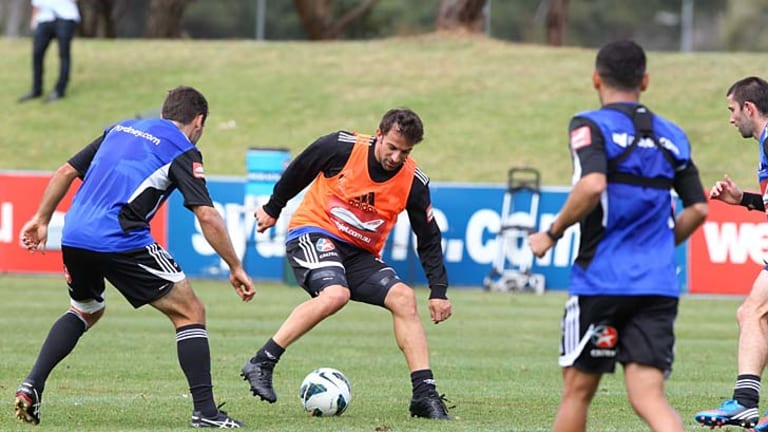 Drills today, thrills tomorrow ... Sydney FC star Alessandro Del Piero prepares yesterday for the cross-city clash against the Western Sydney Wanderers.