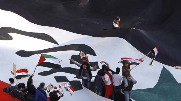 Divided ... a demonstration for Bashar al-Assad.