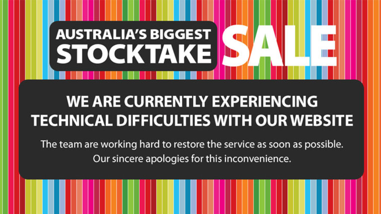 Visitors hoping to nab a bargain on Myer's Boxing Day Sale website were left disappointed.