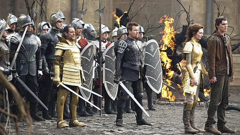 Ewan McGregor, centre, stars in <i>Jack the Giant Slayer</i>, with Nicholas Hoult as Jack, far right.
