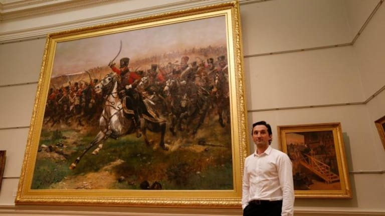 Newly acquired: Head curator of international art Justin Paton in front of both works.