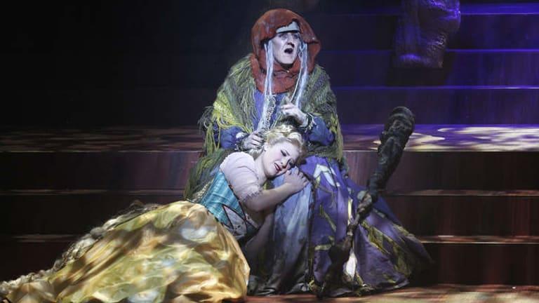 Queenie van de Zandt as The Witch and Olivia Cranwell as Rapunzel.