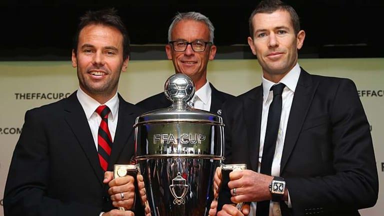 Silverware: Paul Reid, David Gallop and Brett Emerton.