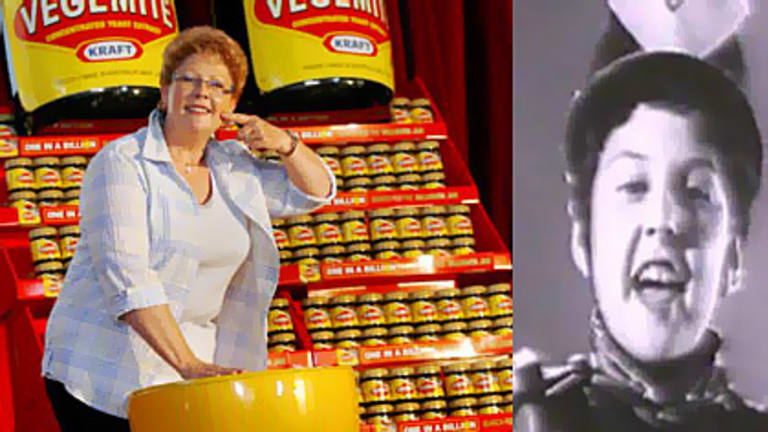 Trish Cavanagh yesterday, and (right) as a seven-year-old in 1959 starring in Vegemite's TV ad.