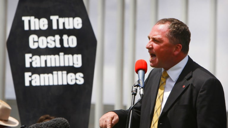 Speaking out ... the leader of the National Party, Barnaby Joyce, addresses farmers who marched on Parliament House in support of hunger-striker Peter Spencer.