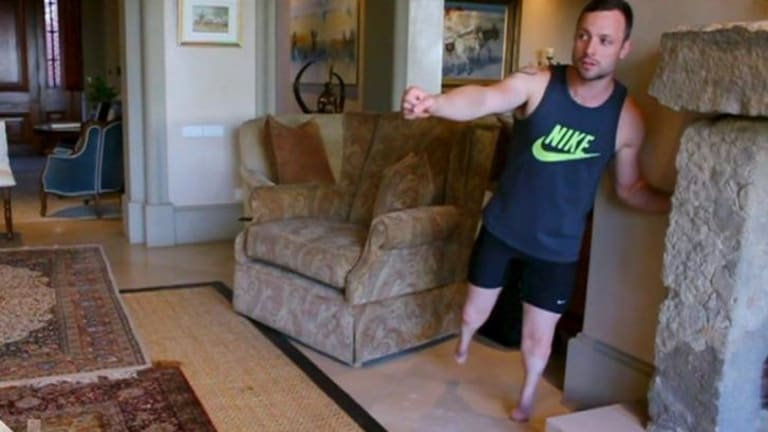 Re-enactment: Oscar Pistorius details the night that he shot his girlfriend Reeva Steenkamp.