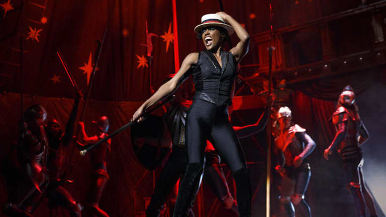 Patina Miller during a performance of Pippin, at Broadway's Music Box Theatre in New York.