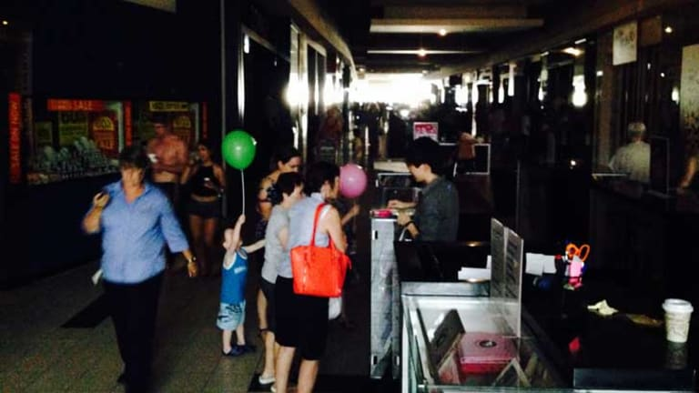 Shoppers in the dark at Frankston.