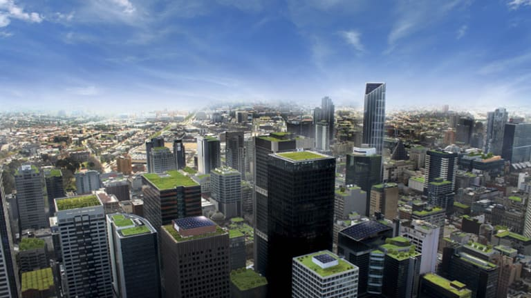 Imagine the cityscape with a green top.