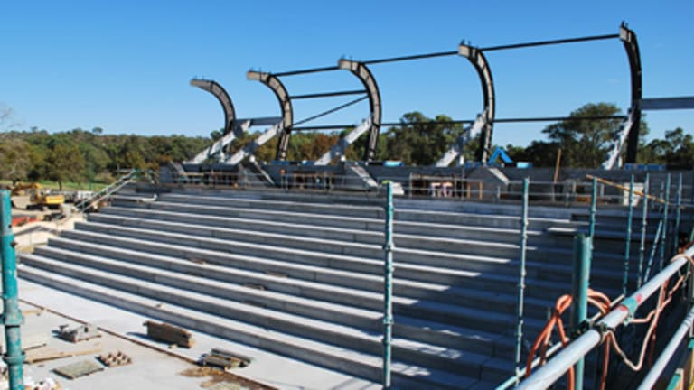 The new stadium at AK Reserve is almost finished, and will replace the crumbling Perry Lakes.