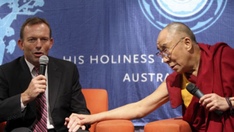 As the Abbott said to the monk... the Opposition Leader with the Dalai Lama yesterday.