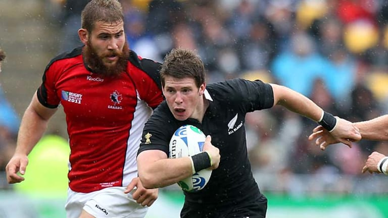 Colin Slade against Canada during New Zealand's final pool game on Sunday.