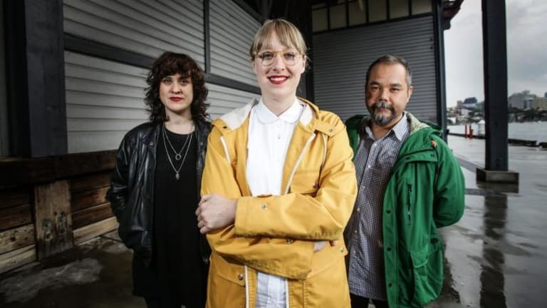 Sydney artists Frances Barrett (left) and George Khut have been selected by Marina Abramovic to participate in her in residence program when her exhibition opens at Pier 2/3 in June, curated by Emma Pike (centre).