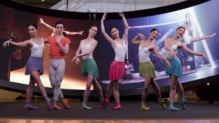 Melbourne dancers Marcus Morelli, (second from left), Ako Kondo (centre, in pink) and Robyn Hendricks (second from right) have been nominated for the 2015 Telstra Ballet Dancer Award.