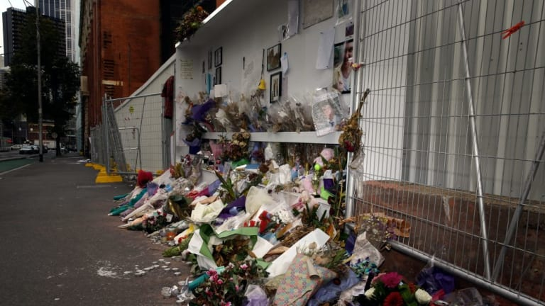 The shrine commemorating three pedestrians killed in a wall collapse.