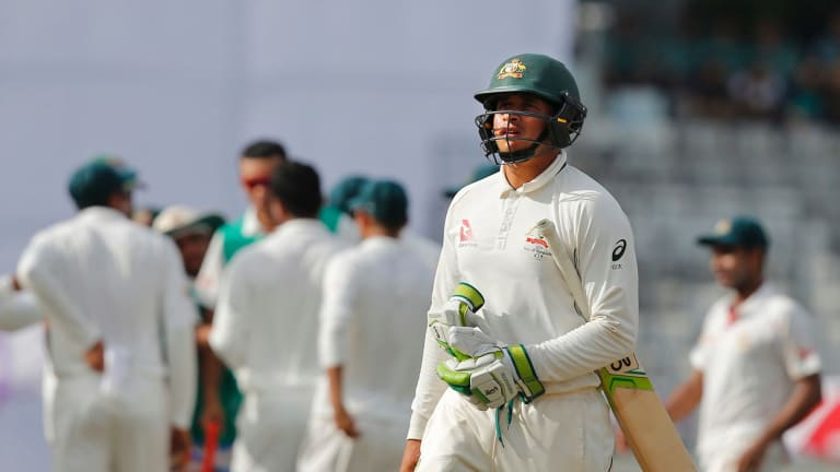 Subcontinental drift: Usman Khawaja fails again outside Australia, this time against Bangladesh.
