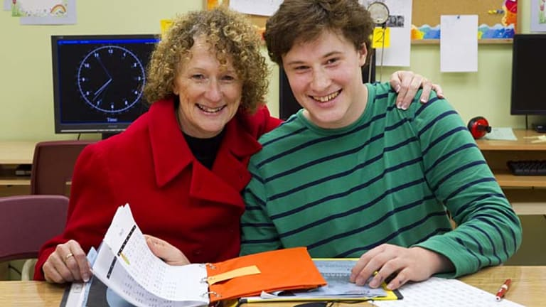 Life-changing … Debra Gilmore, left, says the Arrowsmith Program had a transformative effect on her son Robert, 17.