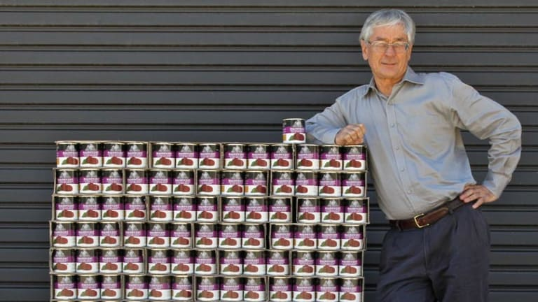 Dick Smith with a pallet load of his Australian grown sliced beetroot.
