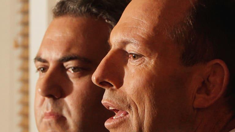 Opposition Leader Tony Abbott and shadow treasurer Joe Hockey.