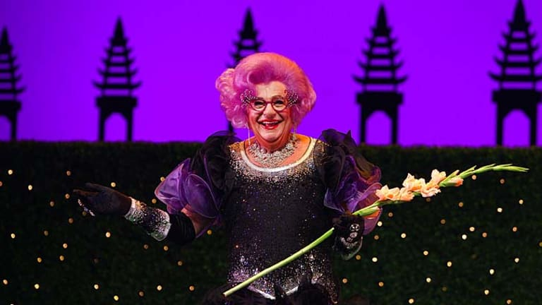 Frock 'n' roll: Dame Edna is ''blissfully retired'', but only from touring, says her manager Barry Humphries.