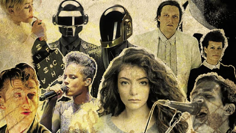 Hip shakers and flakers: (clockwise, from top left) Miley Cyrus, Daft Punk, Arcade Fire, the Drones frontman Gareth Liddiard, Lorde, Alicia Keys and Arctic Monkeys.