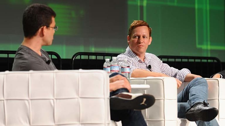 Peter Thiel on stage at a conference in San Francisco.