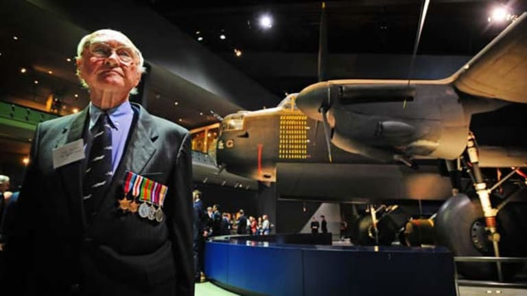 Original squadron member,86-year-old Alex Jenkins under G for George, a second world war no 460 squadron Lancaster Bomber. <i>Photo: Andrew Sheargold</i>