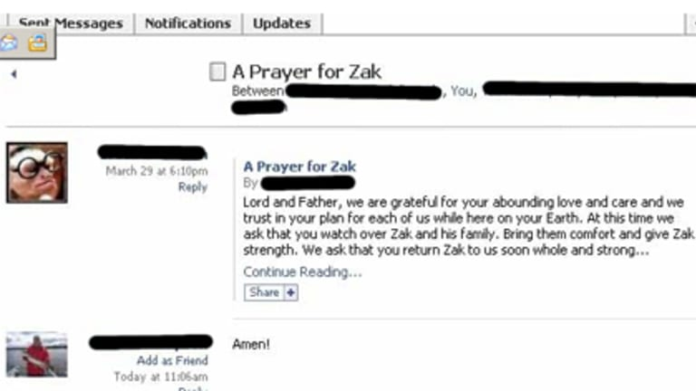 """Hackers defaced a Facebook page that was asking people to pray for a sick relative by posting the message """"If he dies can I have some of his stuff?""""."""