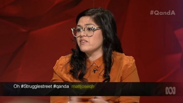 'I'd just like to ask Maurice Newman, is Elvis actually dead or has he just gone home?' ... panellist Panellist Nakkiah Lui poked fun at the  climate change contrarian on <i>Q&A</i>.