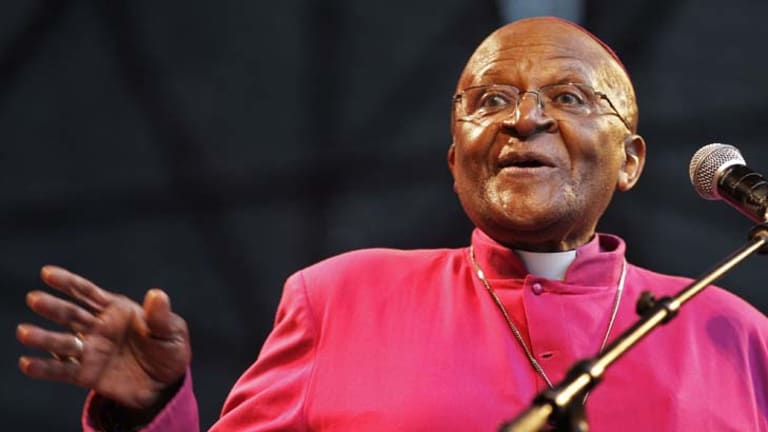 South African Archbishop Desmond Tutu speaks during a climate justice rally in Durban, South Africa.