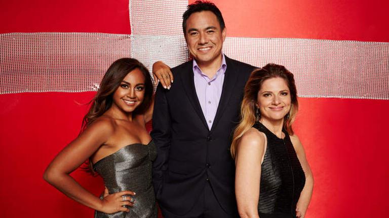 This year's Eurovision hosts Jessica Mauboy, Sam Pang and Julia Zemiro.