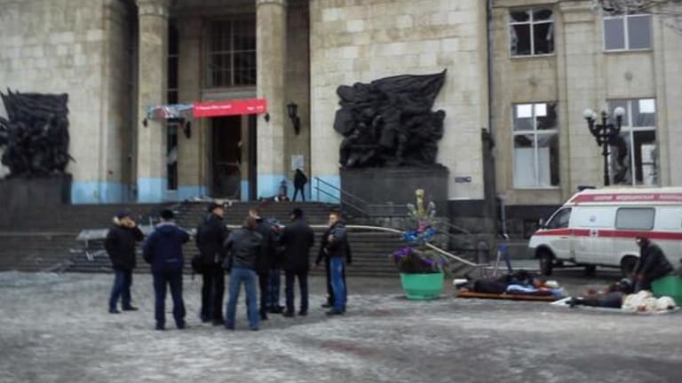 The Volgograd Mayor's Office released this photograph of medics helping wounded people at the entrance to the station.