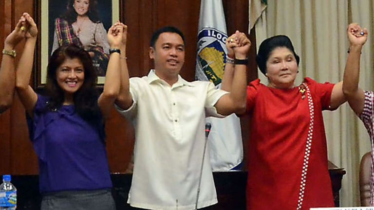 Imelda Marcos, right, and her daughter Imee Marcos, left, are declared winners in elections last week.