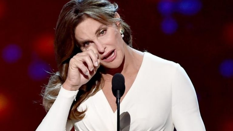 Caitlyn Jenner accepting the Arthur Ashe Courage Award onstage during The 2015 ESPYS.
