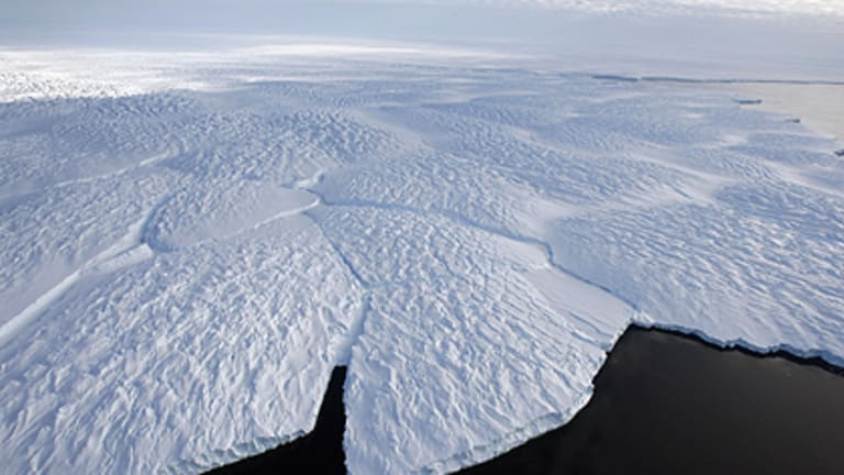 Turning green? An aerial view of an Antarctic glacier.