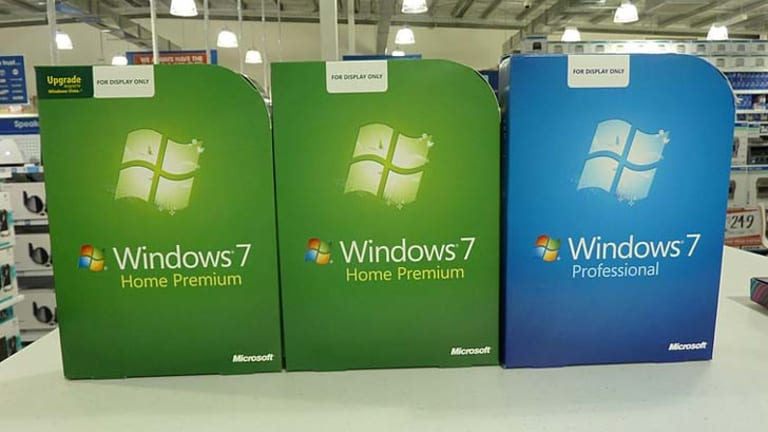 """With Windows 7 the upgrade-only version, left, was clearly marked """"Upgrade"""" on the box."""