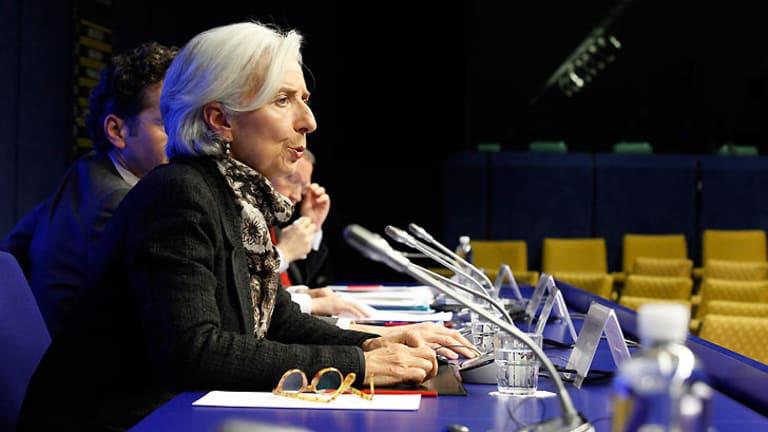 International Monetary Fund (IMF) executive director Christine Lagarde ... at the news conference at the European Council building in Brussels.