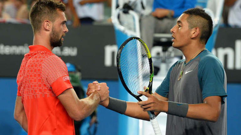 Thriller: Benoit Paire of France shakes hands with Nick Kyrgios.