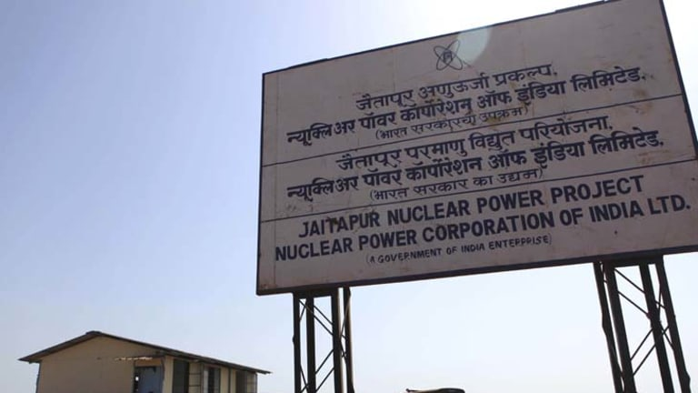 Indian police officers guard the site of the proposed Jaitapur Nuclear Power Project in Jaitapur in the western state of Maharashtra, India.