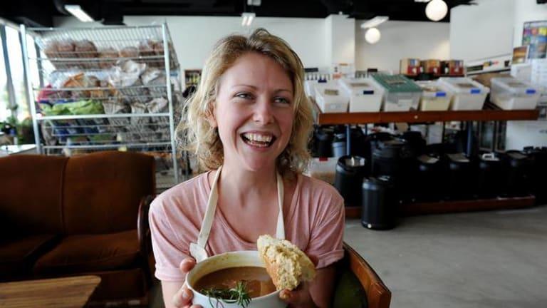 Sarah Norgrove with her soup at the ANU Food Co-op.