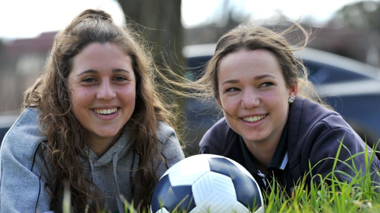 The strong performances of Julia De Angelis (left) has given 15-year-old Grace Maher (right) confidence ahead of her possible W-League debut for Canberra United.