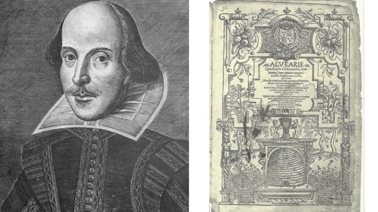 William Shakespeare and, right, a page from the copy of John Baret's <i>An Alvearie</i>.