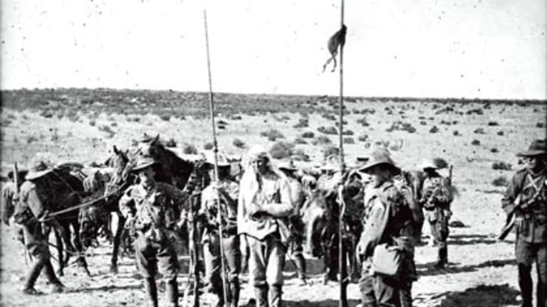 """""""Moral complexity""""... Light Horse soldiers after making a capture near Beersheba."""