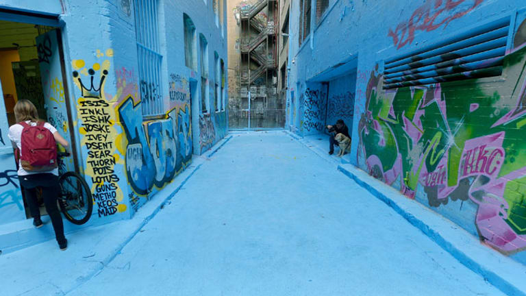 'I just wanted to cover the whole laneway as a one piece and claim the colour as street art,' Adrian Doyle says.
