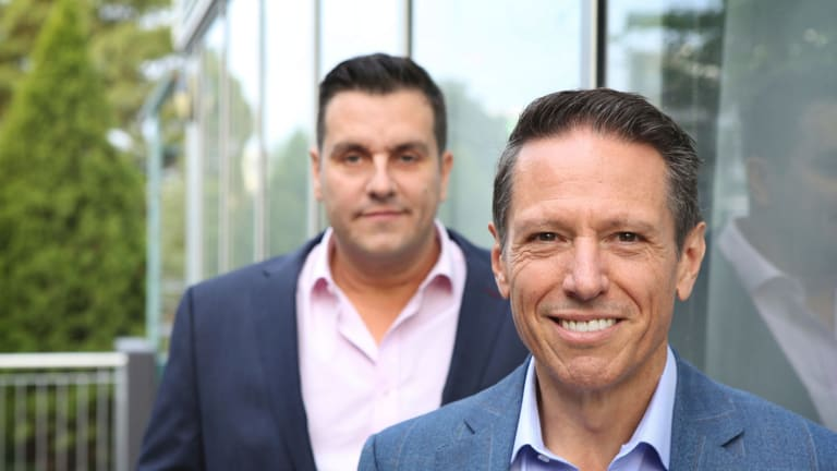 Noni B chairman Richard Facioni (front) and CEO Scott Evans expect to turn around the loss-making brands they bought from Specialty Fashion Group by 2020.
