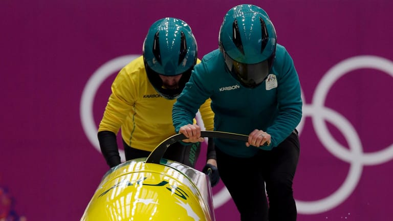 'Utter madness': J Astrid Radjenovic and Jana Pittman during a training run in Sochi.