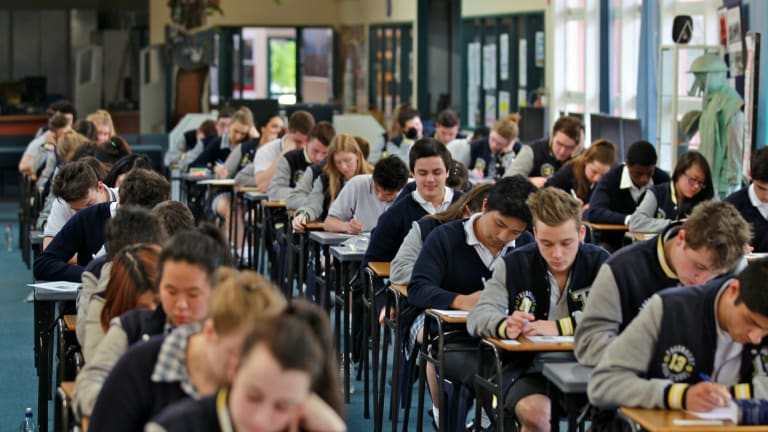 Students take the VCE English exam at Thornbury High School.
