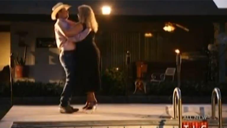 Darlene Flynn dances by the pool with then-boyfriend Justin Smith.