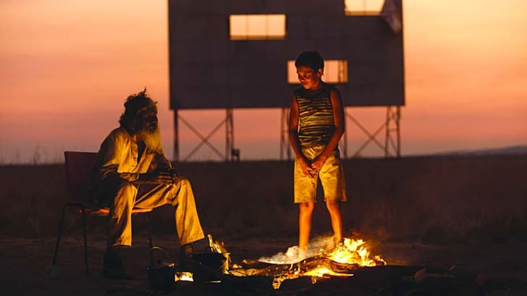 Walkabout: David Gulpilil (left) and Cameron Wallaby journey between old and new worlds in Catriona McKenzie's <i>Satellite Boy.</i>